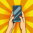 canvas print picture - Hands holding smartphone pop art. Female hands hold a mobile phone. Illustration.