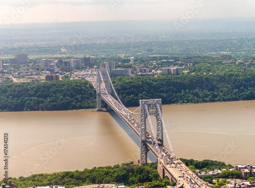 Zdjęcie XXL Helikopter widok George Washington Bridge w Nowym Jorku
