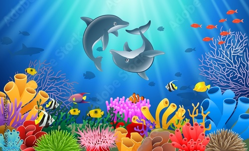 Photographie  Dolphin cartoon with underwater view and coral background