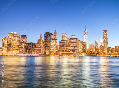 Photo  Night panoramic skyline view of Downtown Manhattan