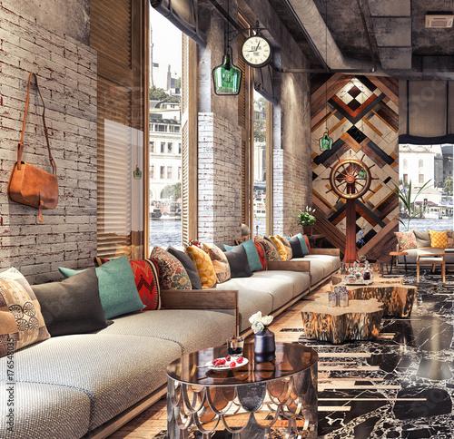 Concept design of modern Restaurant lounge bar \
