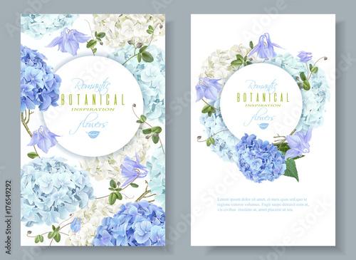 Obraz na plátně Hydrangea banners blue