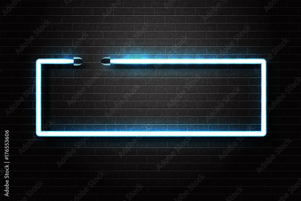 Fototapety, obrazy: Vector realistic isolated neon sign of blue frame for decoration and covering on the wall background.
