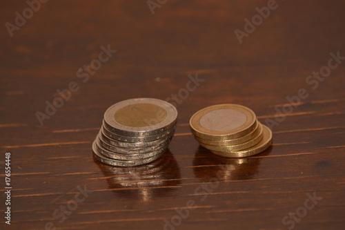 Poster Bar Pile of metal euro coins