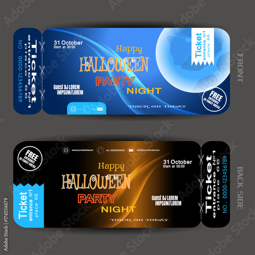 Vector ticket to Happy Halloween night party with blue full moon, waves, stripes, stamp, text on the gradient dark blue and brown background Plakát