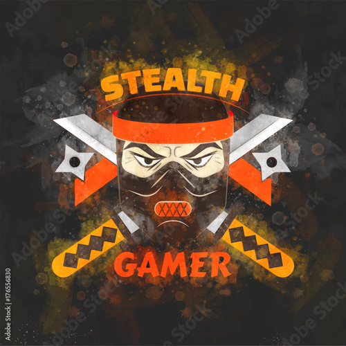 Fotografie, Obraz  Stealth gamer cover with ninja and swords and ninja asterisks