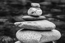 Small And Large Rocks Balanced Together.