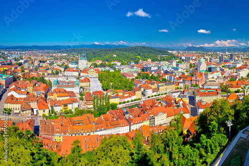Fototapeta Colorful Ljubljana aerial panoramic view obraz na płótnie