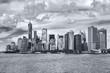 panoramic Downtown Manhattan in monochrome blue tonality