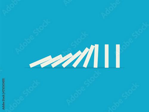 фотографія  Falling dominoes on a blue background. Flat design style