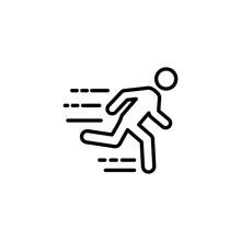 Thin Line Fast Running Man Ico...