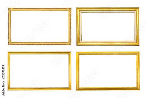Set Antique Golden Frame Isolated On White Backgroundgold Frame