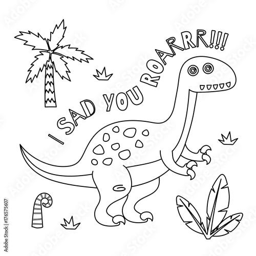 Papiers peints Cartoon draw Cute Dinosaur coloring book series.