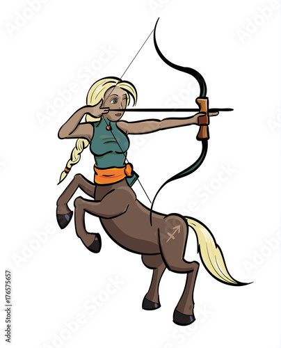 Sagittarius Centaur Aiming A Bow And Arrow With The Symbol For