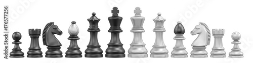 Obraz All chess pieces 3D - fototapety do salonu