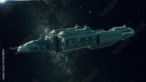 Fototapeta Statek kosmiczny w kosmosie, statek kosmiczny latający we wszechświecie z jasną gwiazdą w odległości, widok z boku