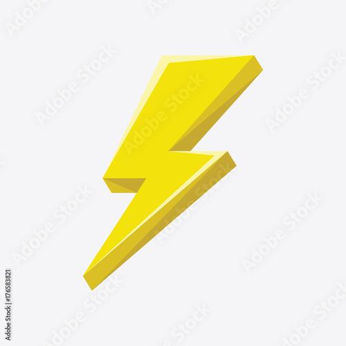 Photo Flash sign thunder yellow. vector