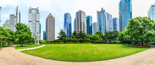 Shanghai Lujiazui Financial District Commercial Buildings And Green Park Panorama