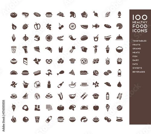 Fototapeta 100 healthy food icons for menus, infographics, design elements. Vector illustration obraz