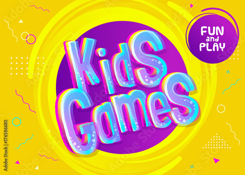 Kids Games Vector Background In Cartoon Style Bright Funny Banner For Childrens Playroom Decoration