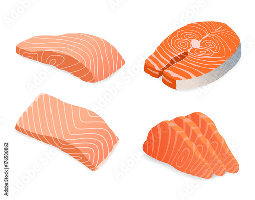 red fish salmon for sushi food menu vector illustration Isolated white background Fotobehang