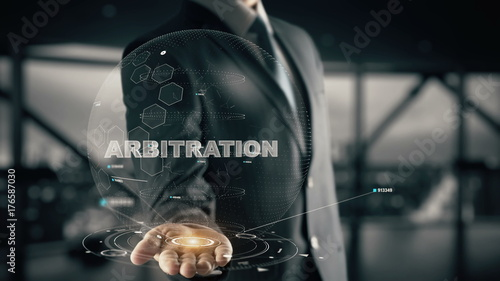 Arbitration with hologram businessman concept Canvas Print