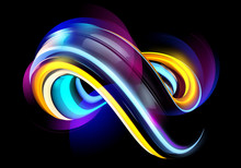 3D Minimal Abstract Background. Neon Liquid Futuristic Shape With Shiny Waves. Modern Colorful Wallpaper.