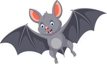 Vector Illustration Of Happy Bat Cartoon Flying Isolated On White Background