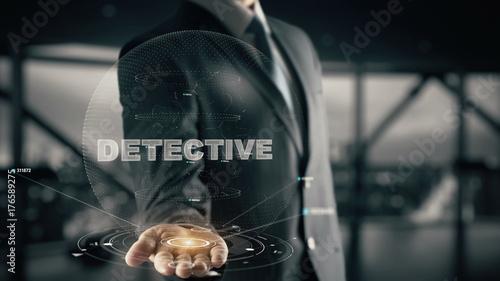 Cuadros en Lienzo Detective with hologram businessman concept