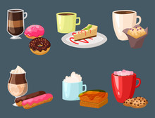 Sweet Hazelnut Muffins Delicious Cake Coffee Cup Morning Bakery Dessert Pastry Fresh Drink Cappuccino Vector Illustration