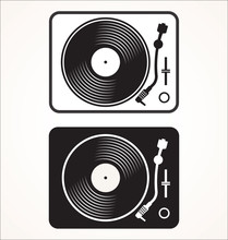 Simple Black And White Turntable Vector Illustration