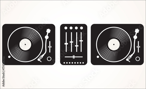 Fotografie, Tablou  Simple black and white dj mixing turntable set vector illustration