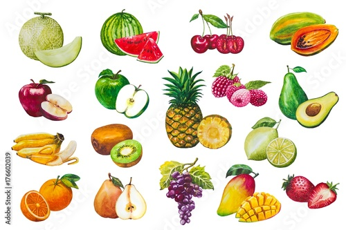 Fruits seamless pattern. A set of elements painted in watercolor. Background of fresh falling mixed fruits. Healthy food.Fruits on a white background isolated.