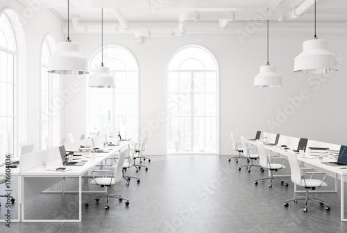 Foto op Plexiglas Wand White open space office, concrete floor