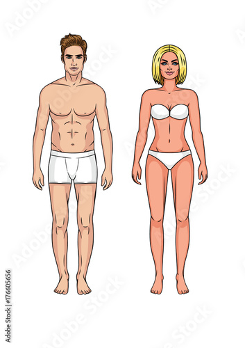 Set Of Man And Woman In Underwear Guy And Girl Standing In Front Without Clothes