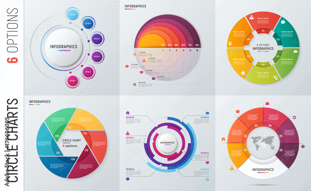 Fototapety, obrazy: Collection of vector circle chart infographic templates for presentations, advertising, layouts, annual reports. 6 options, steps, parts.
