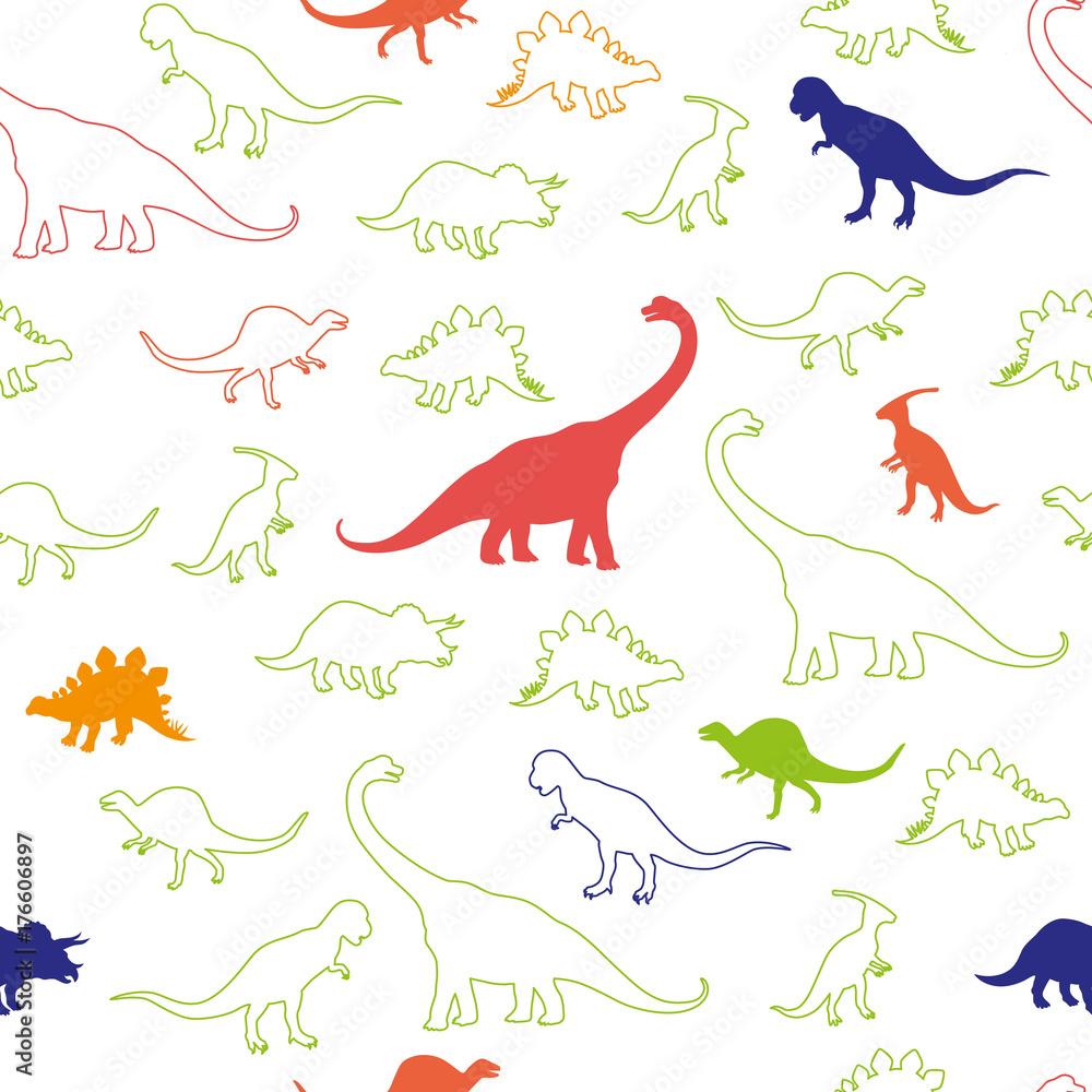 Dino Seamless Pattern Outline Silhouette Foto Poster Wandbilder