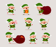 Set Of Cute Playful Christmas ...