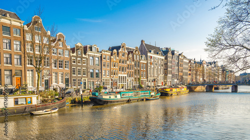 Amsterdam cityscape with the old building in Amsterdam city, Netherlands Wallpaper Mural
