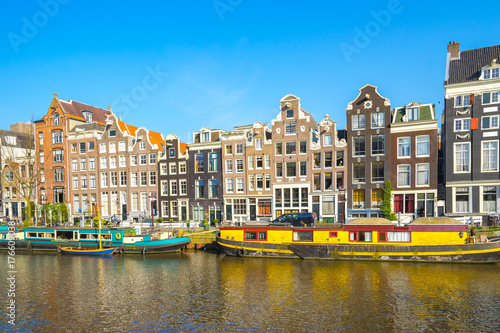 Photo  Dutch house style in Amsterdam city, Netherlands