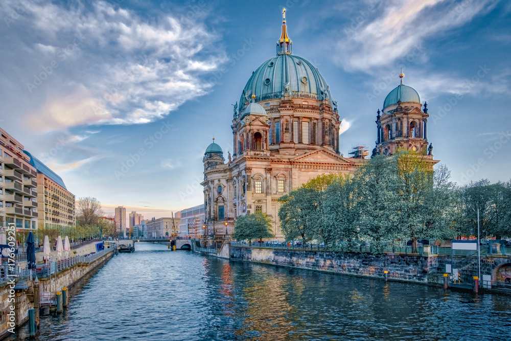 Dramatic sky with Berlin Cathedral in Berlin, Germany Poster