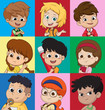 Set of kids avatars,cute cartoon boys and girls faces with various emotions.