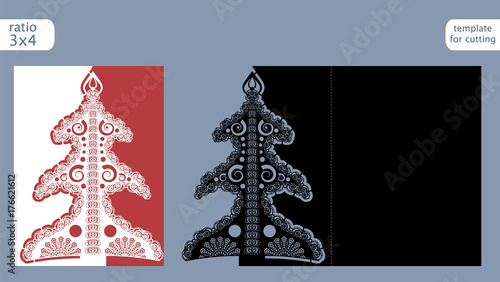 laser cut out christmas card template die cut paper card with pattern of christmas tree