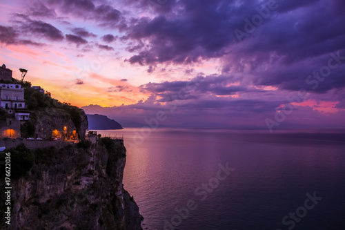 Poster Prune Sunrise Sunset Sea Landscape In Amalfi
