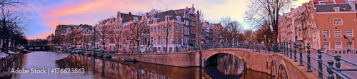 Panorama from the city Amsterdam in the Netherlands at sunset © Nataraj