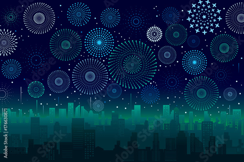 Poster Violet Vector illustration of a festive fireworks display over the city at night scene for holiday and celebration background design.