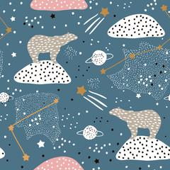 Tapeta Seamless pattern with polar bears silhouette and Constellations . Perfect for fabric,textile.Vector background