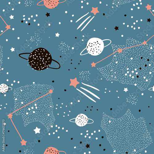 Cuadros en Lienzo Seamless pattern with stars, constellations, planets and hand drawn elements