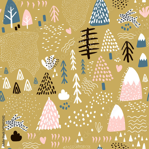 Stoffe zum Nähen Nahtlose Muster mit Hase Wald Elemente und Formen von Hand gezeichnet. Kindisch Textur. Ideal für Stoff, Textil Vektor-Illustration