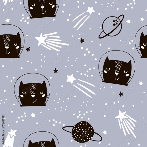Cotton fabric Seamless childish pattern with cute cats astronauts. Creative nursery background. Perfect for kids design, fabric, wrapping, wallpaper, textile, apparel